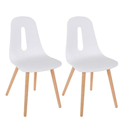 SONGMICS Esszimmerstuhl 2er-Set, moderner Stühle Küchenstuhl, Kunststoff Rückenlehne mit offenem Design, BeineausBuche, weiß, LDC71WT