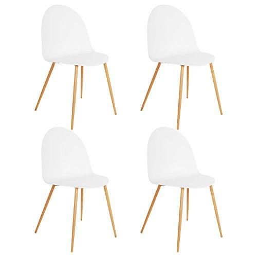 SONGMICS Esszimmerstuhl 4er-Set, moderner Küchenstuhl Stühle, breiteRückenlehne aus Kunststoff, EisenbeineinHolzoptik, weiß, LDC51WT