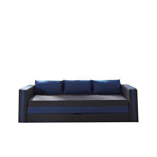 Schlafsofa Euforia Duo, Sofa Couch mit Bettkasten und Schlaffunktion, Modernes Bettsofa Schlafcouch, Polstersofa, Loungesofa Farbauswahl (Haiti 16 + Haiti 10)