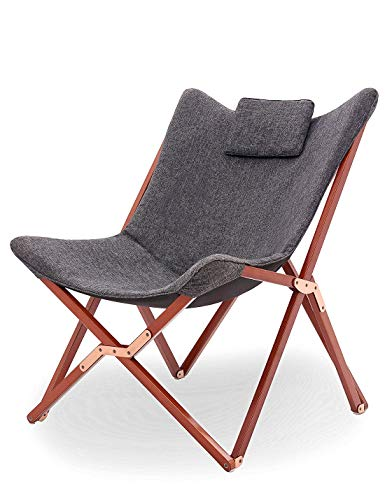 Suhu Klappstuhl Camping Stuhl Lounge Sessel Modern Design Retro Stühle Liegestuhl Klappbar Gartenliege Auflagen Hochlehner TV Relaxliege Mit Holzrahmen Stoff Für Balkon Garten Und Wohnzimmer Grau