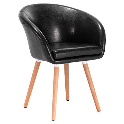 WOLTU 1 Stück Esszimmerstuhl Küchenstuhl Wohnzimmerstuhl Design Stuhl Retro Stuhl Polsterstuhl mit Arm- und Rückenlehne, Dicke Polsterung aus Kunstleder, Massivholz Schwarz BH73sz-1
