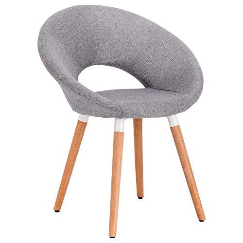 WOLTU 1 Stück Esszimmerstuhl Küchenstuhl Wohnzimmerstuhl Design Stuhl Retro Stuhl Polsterstuhl mit Rückenlehne Leinen Massivholz Hellgrau BH72hgr-1