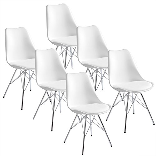 WOLTU® 6 x Esszimmerstühle 6er Set Esszimmerstuhl Küchenstuhl Polsterstuhl Design Stuhl mit Sitzfläche aus Kunstleder, Gestell aus verchromtem Stahl, Weiß BH05ws-6