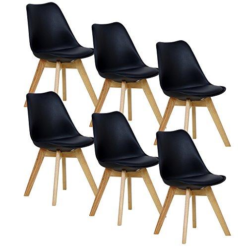WOLTU® 6er Set Esszimmerstühle Küchenstuhl Design Stuhl Esszimmerstuhl Kunstleder Holz Schwarz BH29sz-6