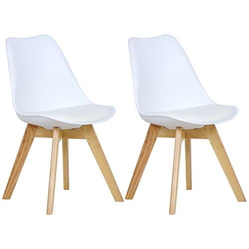 WOLTU BH29ws-2 2 x Esszimmerstühle 2er Set Esszimmerstuhl Design Stuhl Küchenstuhl Holz,, Weiß