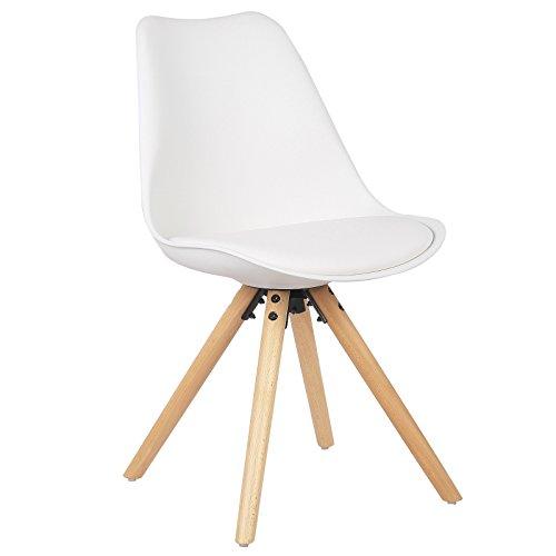 WOLTU® BH52ws-1 1 Stück Esszimmerstuhl, mit Sitzfläche aus Kunstleder, Design Stuhl, Küchenstuhl, Holz,, Weiß