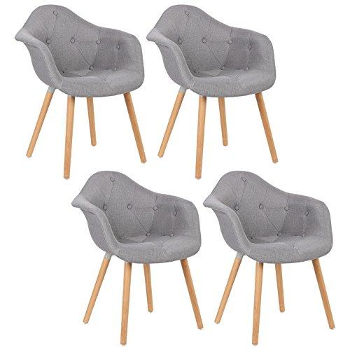 WOLTU® BH55gr-4 4 x Esszimmerstühle 4er Set Esszimmerstuhl mit Lehne Design Stuhl Küchenstuhl Leinen Holz Grau