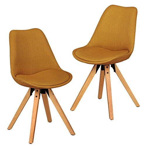 Wohnling 2er Set Retro Esszimmerstuhl LIMA ohne Armlehne in Stoff Bezug Curry, Küchenstuhl mit Lehne und 4 Holz Beinen, Design Essstuhl- gepolstert
