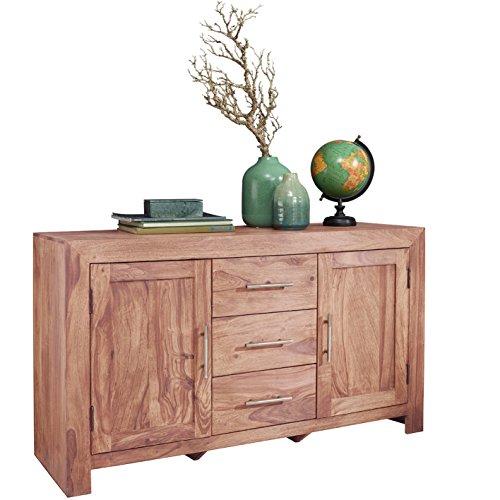 Wohnling Sideboard Massivholz Kommode 118 cm 3 Schubladen 2 Türen Design Highboard Landhaus-Stil natur Echt-Holz Schubladenkommode Natur-Produkt Flur-Möbel Aufbewahrung Dielen-Möbel braun