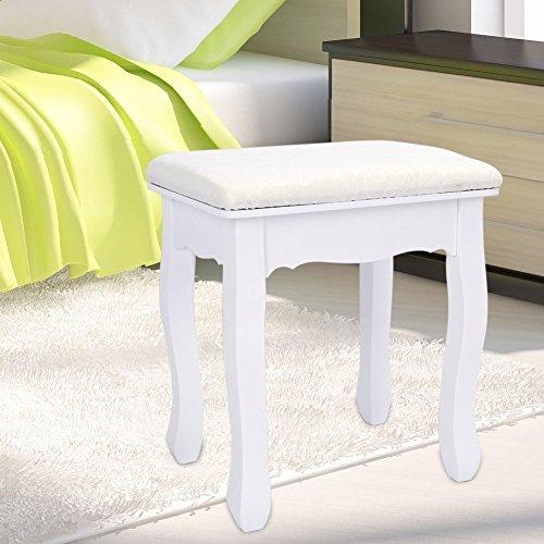 Zerone Schminktisch Hocker, Weiß Vintage Padded Piano Stuhl Make-up Sitz, 28x37x45cm (LxBxH)