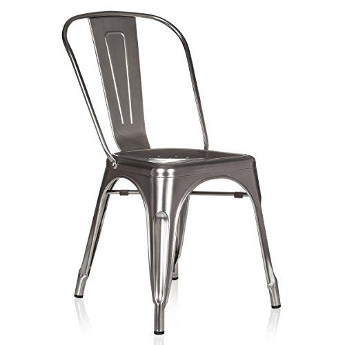 hjh OFFICE 645025 Bistrostuhl VANTAGGIO Comfort Metall Platin Silber Stuhl im Industry-Design, stapelbar