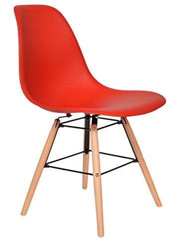 ts-ideen 1 x Design Klassiker Stuhl Retro 50er Jahre Barstuhl Küchenstuhl Esszimmer Wohnzimmer Sitz in Rot mit Holz