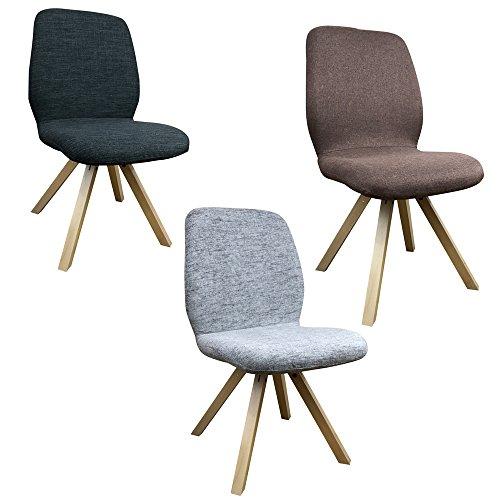 2 x Esszimmerstuhl Helsinki mit Holzgestell - einzigartiges Design mit hochwertiger Verarbeitung - robust und modern im Skandinavischen Stil - Designstuhl Holzstuhl Esszimmer Stuhl Stoffstuhl Holz