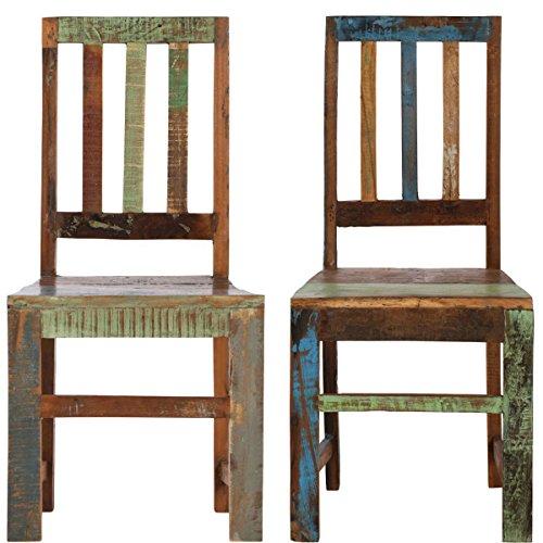 Butlers PARADISO Stuhl, 2er-Set Sitzmöbel - Esszimmer - Vintage Look - 47cm Sitzhöhe