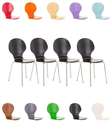 CLP 4X Stapelstuhl Diego l Ergonomisch Geformter Konferenzstuhl mit Holzsitz und Metallgestell I Stapelbarer Stuhl mit Pflegeleichter Sitzfläche