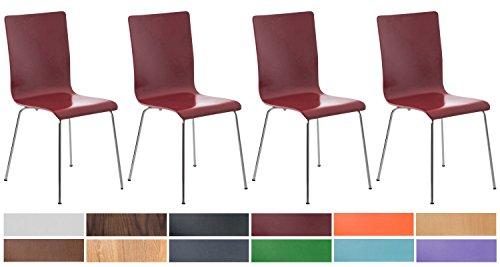 CLP 4er-Set Wartezimmerstuhl Pepe mit ergonomisch Geformten Holzsitz und Metallgestell I 4X Konferenzstuhl | In Verschiedenen Farben erhältlich