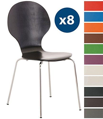 CLP 8 x Stapelstuhl Diego l Ergonomisch Geformter Konferenzstuhl mit Holzsitz und Metallgestell I Stapelbarer Stuhl mit Pflegeleichter Sitzfläche