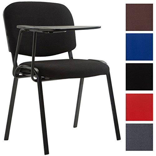 CLP Besucherstuhl Ken mit Klapptisch | Robuster Konferenzstuhl mit Gepolsterter Sitzfläche und Stoffbezug | In Verschiedenen Farben erhältlich