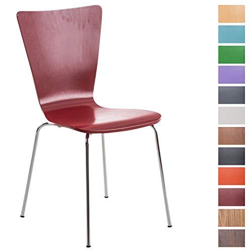 CLP Stapelstuhl Aaron ergonomisch Geformter Konferenzstuhl mit Holzsitz und stabilem Metallgestell | Platzsparender Stuhl mit Pflegeleichter Sitzfläche