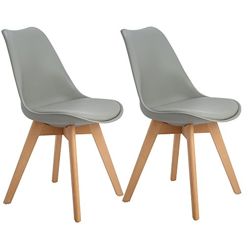 EGGREE 4er Set Esszimmerstühle mit Massivholz Bein, Retro Design Gepolsterter lStuhl Küchenstuhl Holz, 3 Farben