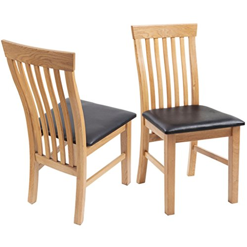 Festnight 2 Stk. Esszimmerstühle Essstuhl Eichenholzrahmen Küchenstuhl Kunstleder-Sitzpolster Ergonomisch Holzstuhl Esszimmer Stuhl-Set
