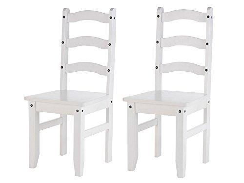 Miguel 2er Set Stuhl Esszimmerstuhl Essstuhl Küchenstuhl Lehnstuhl Holzstuhl Küche Esszimmer Kiefer massiv weiß Landhaus