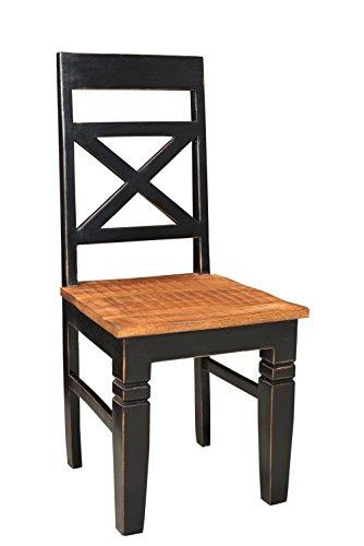 SAM® Esszimmer-Stuhl Corsica, aus Mangoholz & MDF, schwarz mit honigfarbener Sitzfläche, bequemer Holzstuhl im mediterranen Stil, Unikat