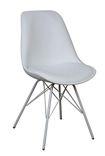SAM® Stilvoller Esszimmerstuhl Oslo, Stuhl in zeitlosem Design, Schalenstuhl mit Polster und massiven Beinen aus weißem Metall, Unikat für Ihr Wohnzimmer, Esszimmer, Küche