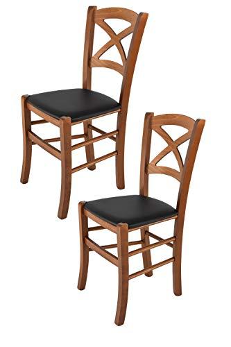 Tommychairs 2er Set Stühle Cross für Küche und Esszimmer, Robuste Struktur aus lackiertem Buchenholz im Farbton Nuss und Sitzfläche mit Stoff in der Farbe Hanf bezogen