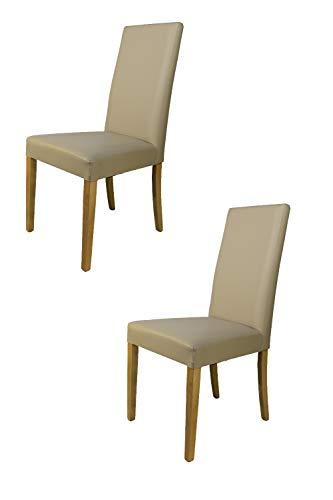 Tommychairs - 2er Set Stühle GINEVRA Robuste Struktur aus lackiertem Buchenholz, Farbe Eiche, Gepolstert und mit weissem Kunstleder bezogen