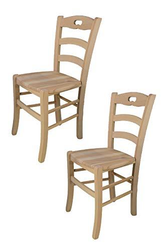 Tommychairs 2er Set Stühle Savoie 38, klassischer Stil, Robuste Struktur aus poliertem Buchenholz, unbehandelt und 100% natürlich, im natürlichen Farbton und mit Einer Sitzfläche aus echtem Stroh