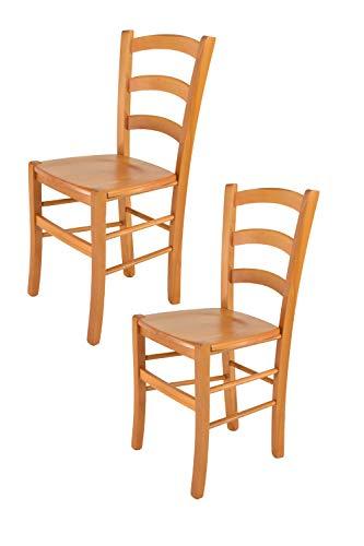 Tommychairs - 2er Set Stühle Venice für Küche und Esszimmer, robuste Struktur aus lackiertem Buchenholz im Farbton Honig und Sitzfläche aus Holz. Set bestehend aus 2 Stühlen Venice