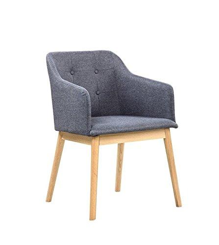 Unbekannt SalesFever® Stilvoller Armlehnstuhl Ando in Anthrazit, Designer-Stuhl mit Stoffbezug, gepolstert, Füße aus Eichenholz, Retro-Look, sesselförmiger Sitz, bequemer Sitzkomfort