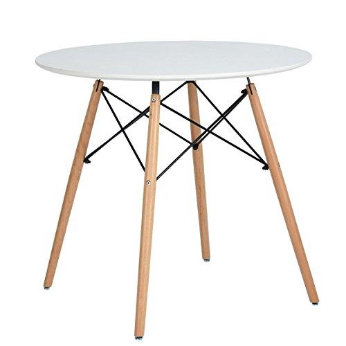 Esstisch Coavas Rund Küchentisch Modern Büro Konferenztisch Weiß Kaffeetisch, Küche Esstisch Freizeit Holz Kaffee Tee Büro, Creme Weiß