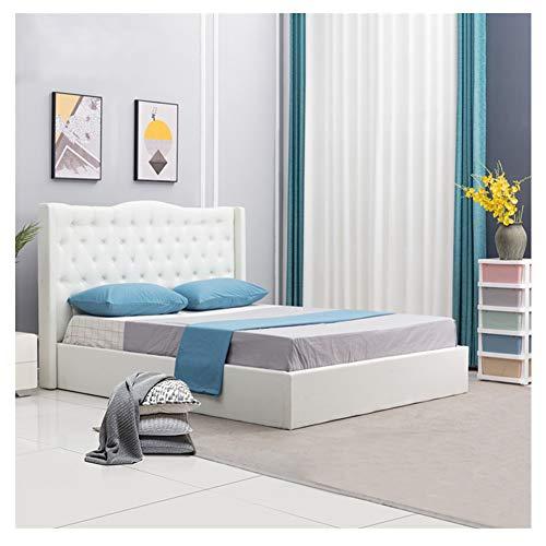 TUKAILAI Luxuriös Weiß Polsterbett Doppelbett Claire 160 x 200 cm Inklusive Lattenrost, mit Stoffbezug, für Schlafzimmer, Bettgestell mit Lattenrost, Hotel