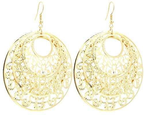 2LIVEfor Statement Ohrringe lang hängend Silber Gold Ohrringe Ethno in Tropfenform verziert Ohrringe Bohemian Vintage Ohrhänger Sehr Lang Groß Rund Ornamente Blatt Blätter