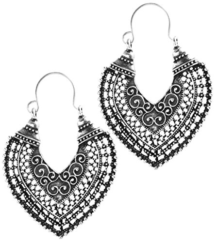 2LIVEfor Traumhafte Ohrringe Ethno Gross verziert Ohrringe Bohemian Vintage Ohrringe lang Hängend Antik Style Silber Ornamente Creolen Rund Creole Ornamente