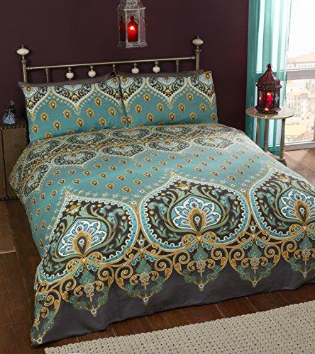 Asha-Smaragd-Bettwäscheset, Bettbezug und 2Kissenbezüge mit indischem Design
