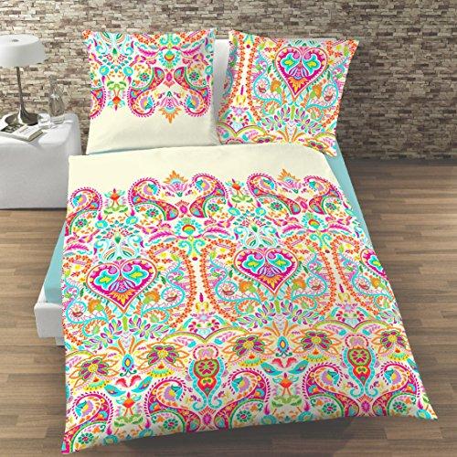 BLUMEN Mako-Satin-Bettwäsche · Tropical Vibes · mit buntem Boho & Ethno Design orange, pink, bunt · 2 teilig Bettbezug 135x200 cm + Kopfkissenbezug 80x80 cm - 100 % Baumwolle - Reißverschluss