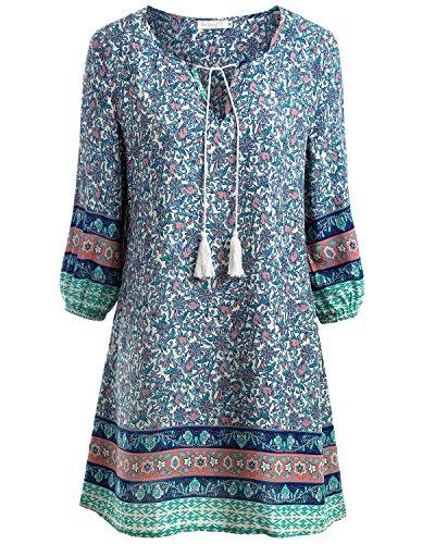 BaiShengGT Damen Tunika Strandkleid Minikleid Vintage Bohemian Kleider