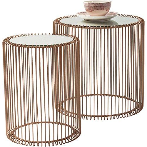Beistelltisch Wire 2er Set, Runder, Moderner Glastisch, Kleiner Couchtisch, Kaffeetisch, Nachttisch