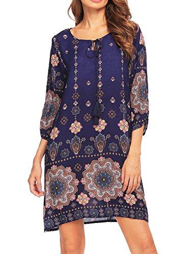 Beyove Damen Bohemian Tunika Strandkleid Minikleid Vintage Strandtunika Herbst A-Linie Kleid