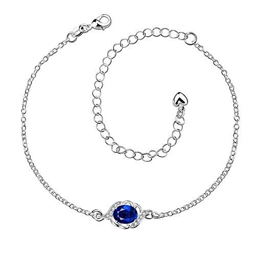 Bishilin Charm Damen Fußkette Silber Blau/Lila/Weiß/Rot Zirkonia Rund Knöchelkette Fuss Kette Barfuß für Damen