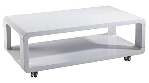 CAVADORE Couchtisch Leona/Moderner, Niedriger Holztisch mit Rollen und Ablage/Hochglanz Weiß/105 x 58 x 38 cm (L x B x H)