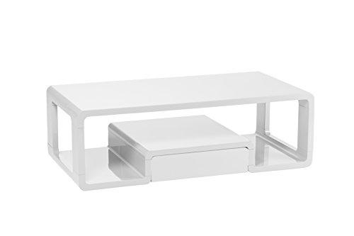 CAVADORE Couchtisch Loof/Moderner, Niedriger Beistelltisch mit Schublade mit Push-to-Open-Funktion/Sofa-Tisch mit Viel Stauraum/inkl. Ablage/Hochglanz Weiß/120 x 60 x 40 cm (L x B x H)