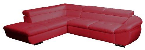 CAVADORE Polsterecke Astra/Ottomane mit Kopfteilverstellung-3er Bett mit Kopfteilverstellung/273x68-84x229 cm/Kunstleder Bison loud red