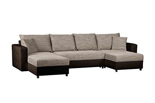 CAVADORE Schlafcouch mit Bettkasten/Recamiere rechts oder links montierbar/Wohnlandschaft mit Strukturstoff und Kunstleder/Ecksofa