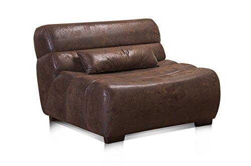 CAVADORE Sessel Scoutano in Antiklederoptik/XXL-Sessel ohne Lehne im Industrial Design/Größe: 114 x 76 x 108 cm (BxHxT) / Bezug in Antik Chocco/Holzfüße in antik