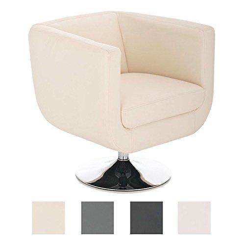 CLP Lounger Colorado V2 mit Kunstlederbezug | Gepolsterter Cocktailsessel mit Metallgestell in Chromoptik | Drehbarer Sessel mit Trompetenfuß
