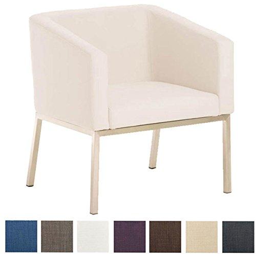 CLP Retro Edelstahl Loungesessel Nala mit Stoffbezug, Gepolsterter Sessel mit Rückenlehne | Sitzhöhe 44 cm